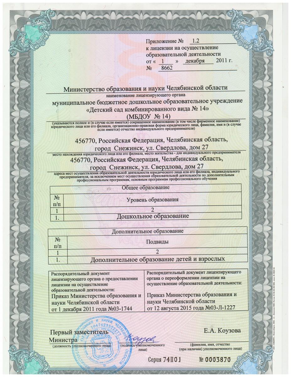 Новое приложение к лицензии 2015г. 1