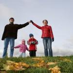 children in family house. autumn